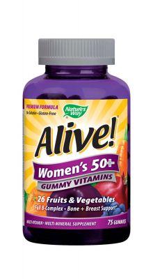 Алайф желирани мултивитамини за жени 50+/Alive women's 50+ gummy vitamins 131mg 75tabl