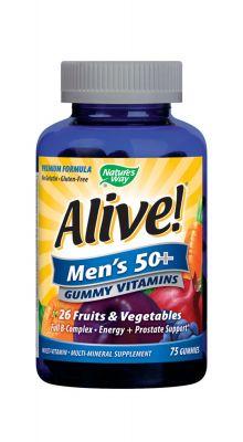 Алайф желирани мултивитамини за мъже 50+/Alive men's 50+ gummy vitamins 94mg 75tabl